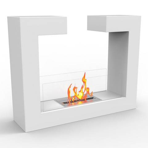 Vinci Ventless Free Standing Ethanol Fireplace in White