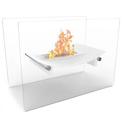 Bow Ventless Free Standing Ethanol Fireplace in White