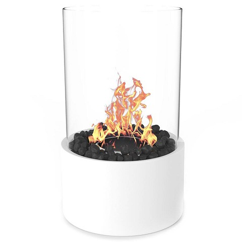 Eden Ventless Tabletop Portable Bio Ethanol Fireplace in White