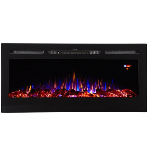Essex 40 Inch Built-in Ventless Recessed Wall Mounted Electric Fireplace - Pebble Crystal Log