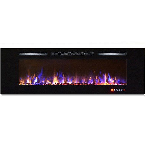 Gotham 72 Inch Built-in Ventless Heater Recessed Wall Mounted Electric Fireplace - Multi-Color