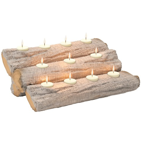 "Tealight 24"" Fireplace Log Candle Holder Insert - Birch Finish"