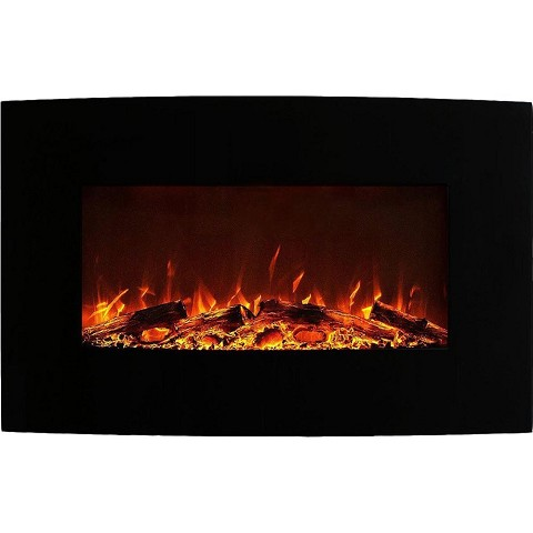 Madison 35 Inch Ventless Heater Electric Wall Mounted Fireplace - Log