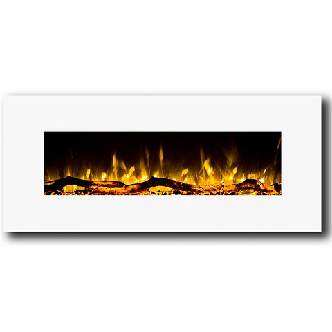 Ashford 50 Inch White Ventless Heater Electric Wall Mounted Fireplace - Log