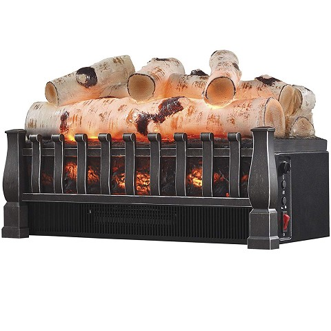 20 Inch Electric Fireplace Log Realistic Ember Bed Insert with Heater in Birch