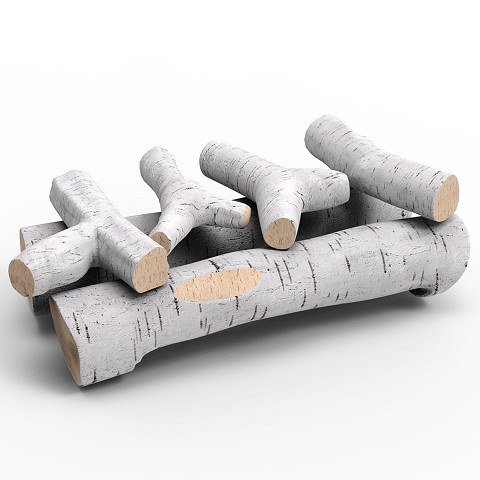 22 Inch 6 Piece Ceramic Fireplace Gas Logs - Birch