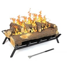 24 inch Convert to Ethanol Fireplace Log Set with Burner Insert from Gel or Gas Logs in Oak