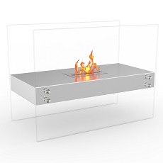 Ionic Ventless Free Standing Ethanol Fireplace in Stainless Steel