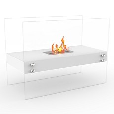 Ionic Ventless Free Standing Ethanol Fireplace in White