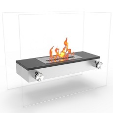 Alor Ventless Free Standing Ethanol Fireplace in Black