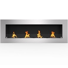 Warren 60 Inch PRO Ventless Built In Recessed Bio Ethanol Wall Mounted Fireplace