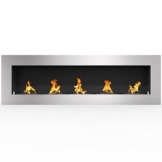 Warren 72 Inch PRO Ventless Built In Recessed Bio Ethanol Wall Mounted Fireplace
