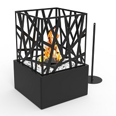 Bruno Ventless Tabletop Portable Bio Ethanol Fireplace in Black