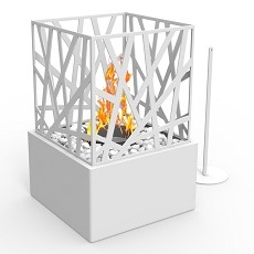 Bruno Ventless Tabletop Portable Bio Ethanol Fireplace in White
