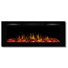Fusion 50 Inch Built-in Ventless Heater Recessed Wall Mounted Electric Fireplace - Log