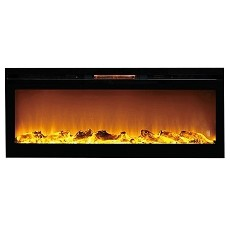 Astoria 60 Inch Built-in Ventless Heater Recessed Wall Mounted Electric Fireplace - Log