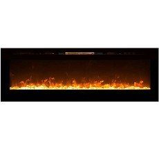 Gotham 72 Inch Built-in Ventless Heater Recessed Wall Mounted Electric Fireplace - Crystal