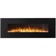 Erie 72 Inch Black Ventless Heater Electric Wall Mounted Fireplace - Pebble