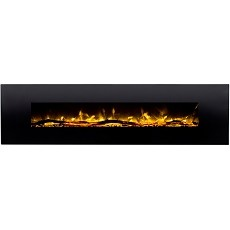 Huron 95 Inch Black Ventless Heater Electric Wall Mounted Fireplace - Log