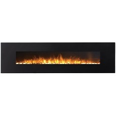Huron 95 Inch Black Ventless Heater Electric Wall Mounted Fireplace - Pebble