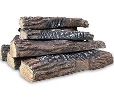 Set of 10 Ceramic Fiber Propane Gel Ethanol or Gas Fireplace Logs - Oak