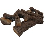 22 Inch 6 Piece Ceramic Fireplace Gas Logs - Oak